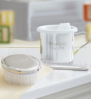 Personalized Keepsake Baby Cup, Brush and Comb Set