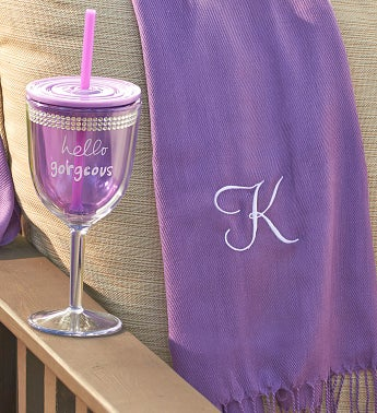 Personalized Pashmina Scarf with  Wine Tumbler