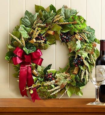 """Preserved Vineyard Wine Cork Wreath - 18"""" - 1-800-Flowers"""