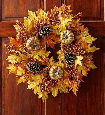 Autumn Faux Pumpkin Wreath - 24
