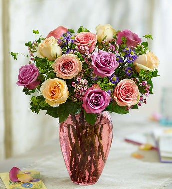 Rose Lovers Bouquet Long Stem Assorted Roses - 12 Stems -...