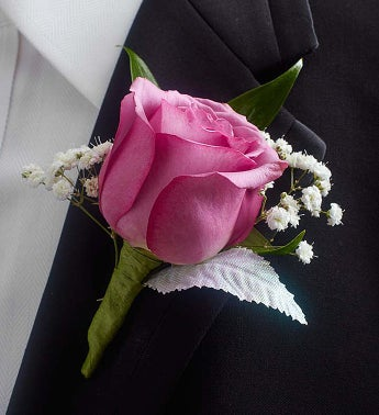 Purple Rose Boutonniere - 1-800-Flowers