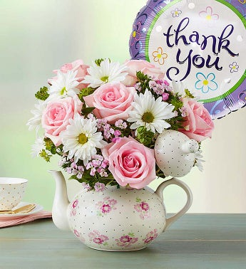 Teapot Full of Blooms Thank You - large - 1-800-Flowers