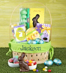 Eggceptional Personalized Easter Basket - Easter Basket w/ Name Embroidered Blue