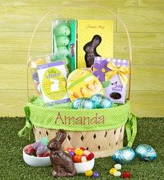Eggceptional Personalized Easter Basket - Easter Basket w/ Name Embroidered Pink