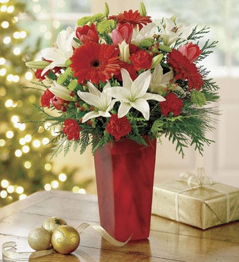 Daisy, and Tulip Christmas Bouquet in Red Vase