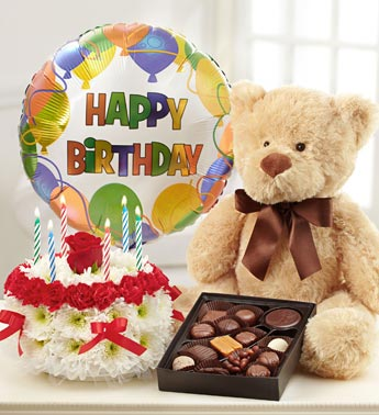 birthday bear, chocolate, balloon, and flower cake