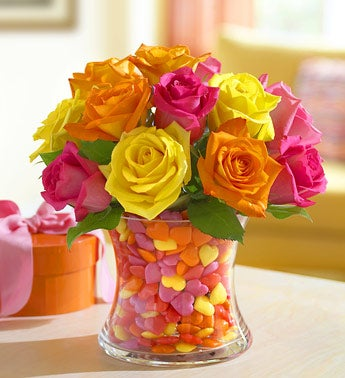 multicolored roses arrangement