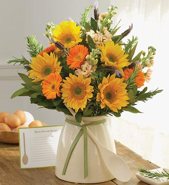 mixed arrangement in kitchen crock vase