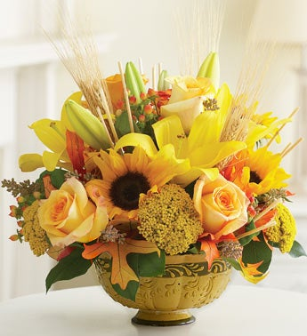 mixed autumn bouquet in centerpiece bowl