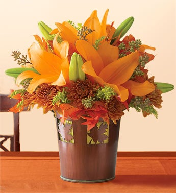 lilies in fall tin