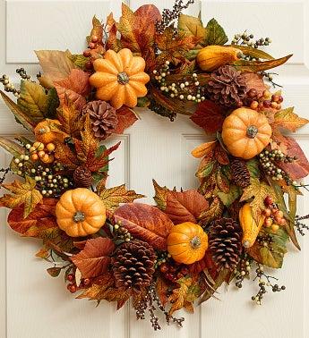 Festive Faux Pumpkin and Gourd Wreath - 24