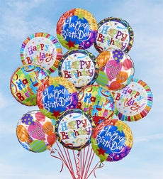Air-Rangement - Birthday Mylar Balloons - One Dozen Balloons