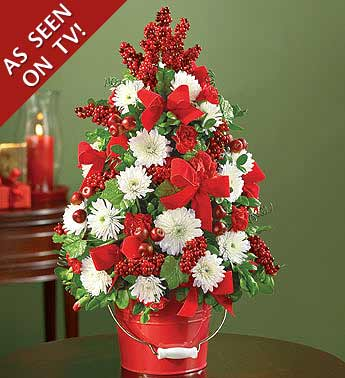 carnations and poms floral tree in red pail