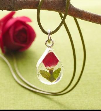 Fresh Rosebud Teardrop Pendant