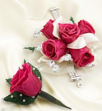 Infinite Rose Fuchsia Corsage & Boutonniere
