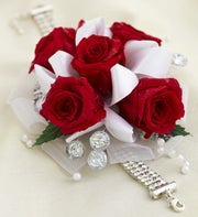 Infinite Rose Red Corsage and Boutonniere