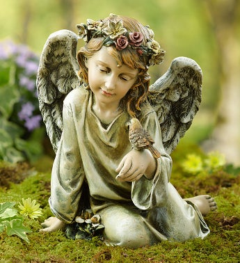 "Angel with Bird 10"" Statue"