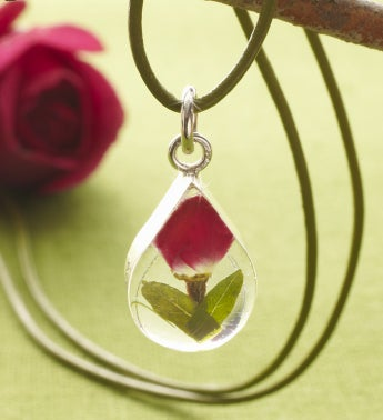 Fresh Rosebud Jewelry Collection - Fresh Rosebud Tiny Teardrop on Sage Leather Cord