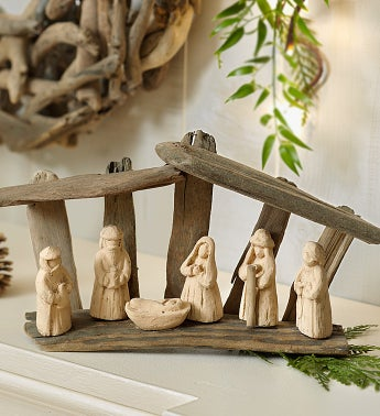 Natural Driftwood Nativity Set