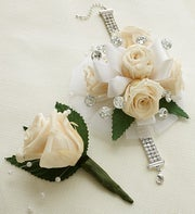 Infinite Rose Antique White Corsage & Boutonniere