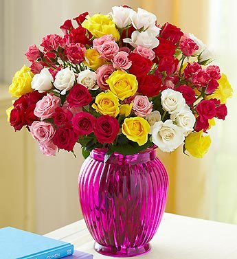 Rainbow Spray Rose Bouquet, Buy 50, Get 50 Blooms