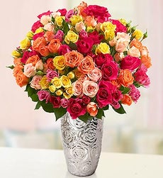 50-100 Blooms of Assorted Spray Roses - 100 Blooms with Silver Embossed Vase