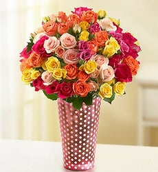 50-100 Blooms of Assorted Spray Roses - 50 Blooms with Pink Polka Dot Vase