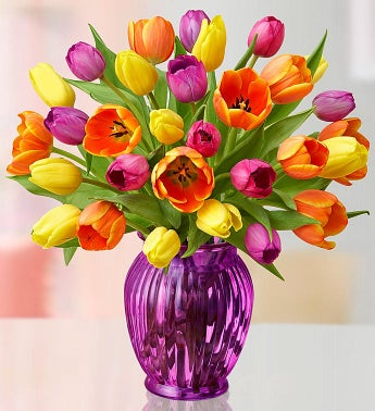 Assorted Tulips - 30 Stems with Purple Vase - 1-800-Flowers