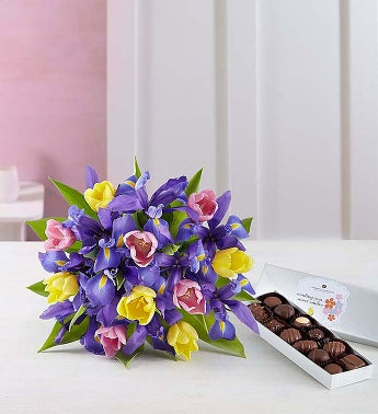 Fanciful Spring Tulip and Iris Bouquet - Bouquet with Cho...