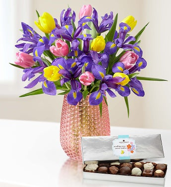 Fanciful Spring Tulip and Iris Bouquet - with Pink Vase a...