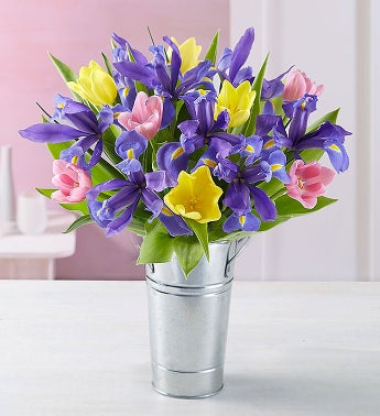 Fanciful Spring Tulip and Iris Bouquet - with French Flow...