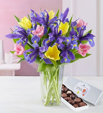 Fanciful Spring Tulip and Iris Bouquet - with Clear Vase ...