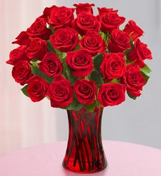 Two Dozen Red Roses - with Red Vase