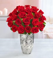 Two Dozen Red Roses + Free Vase