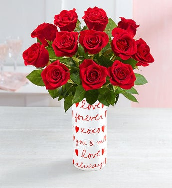 One Dozen Red Roses - with Messages from the Heart Vase -...