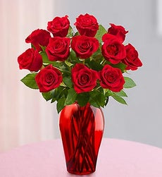 One Dozen Red Roses - with Red Vase