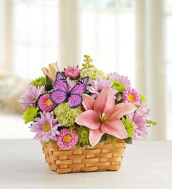 Spring Inspiration Lily Daisy Flower Basket