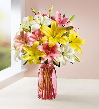 Sweet Spring Lilies - 7 Stems with Pink Vase - 1-800-Flowers