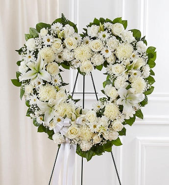 1-800-Flowers.com Always Remember White Floral Heart Tribute
