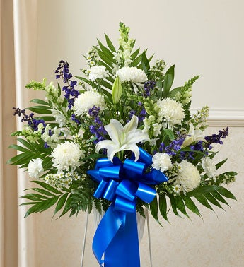 Heartfelt Sympathies Blue & White Standing Basket - Small