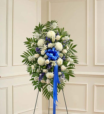 Deepest Sympathies Blue & White Standing Spray - Small - ...