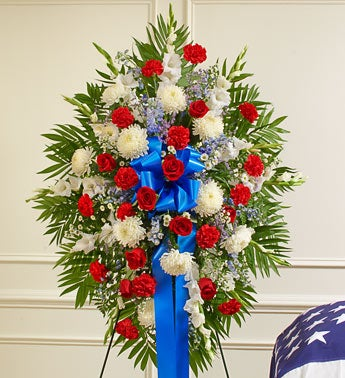 Deepest Sympathy Standing Spray-Red/White/Blue