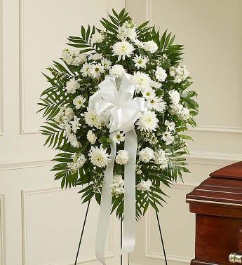 Deepest Sympathies White Standing Spray - Small - 1-800-F...