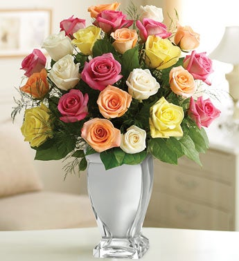 Premium Long Stem Assorted Roses in Silver Vase