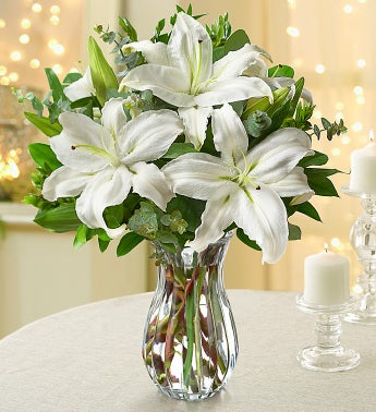 All White Lilies - with Clear Vase - 1-800-Flowers
