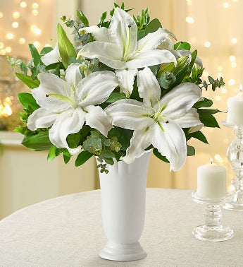 All White Lilies - with White Ceramic Vase - 1-800-Flowers