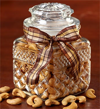 Vintage Pressed Glass Jar with Jumbo Cashews