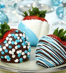 Fannie May Hanukkah Chocolate Strawberries - Hanukkah Dipped Strawberries 6ct