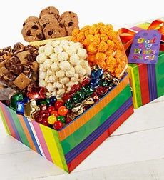 The Popcorn Factory Bright Stripe Birthday Box